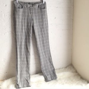 Express gray & white windowpane plaid career pants